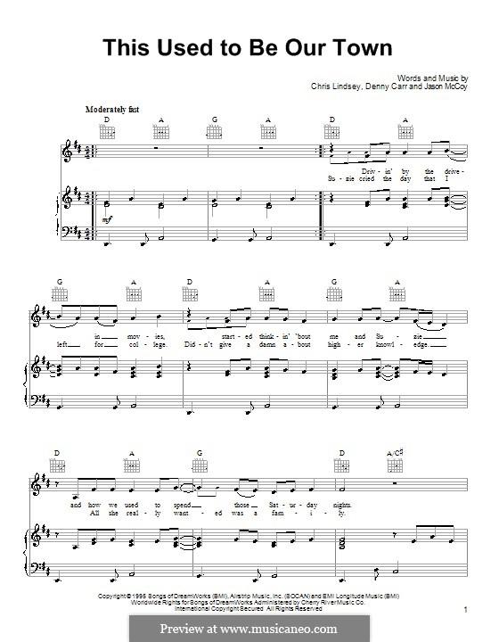 This Used To Be Our Town: Para vocais e piano (ou Guitarra) by Chris Lindsey, Denny Carr