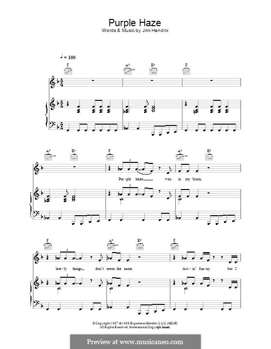 Purple Haze: Para vocais e piano (ou Guitarra) by Jimi Hendrix