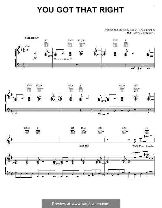You Got That Right (Lynyrd Skynyrd): Para vocais e piano (ou Guitarra) by Ronnie Van Zant, Steve Earl Gaines