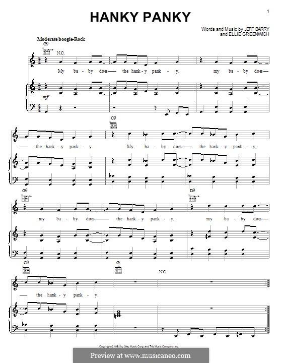 Hanky Panky (Tommy James and The Shondells): Para vocais e piano (ou Guitarra) by Ellie Greenwich, Jeff Barry