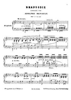 Rhapsody, Op.4: Para Piano by Adolf von Henselt