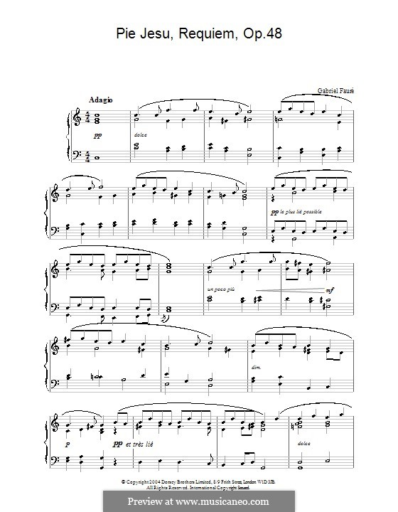 Requiem in D Minor, Op.48: Movement IV 'Pie Jesu', for piano (high quality sheet music) by Gabriel Fauré
