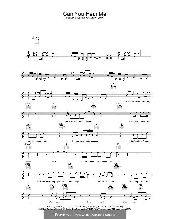 Can You Hear Me: melodía,letras e acordes by David Bowie