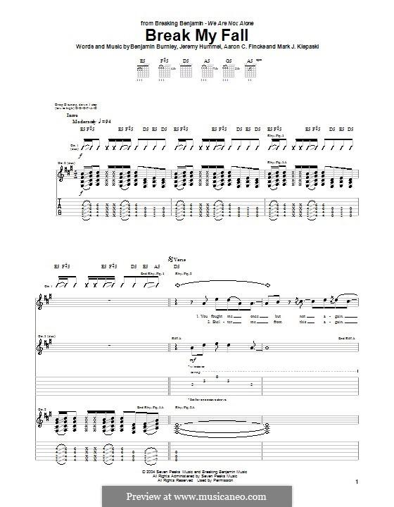 Break My Fall (Breaking Benjamin): Para guitarra com guia by Aaron C. Fincke, Benjamin Burnley, Jeremy Hummel, Mark J. Klepaski