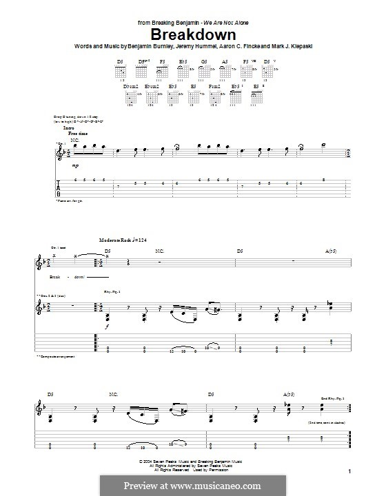 Breakdown (Breaking Benjamin): Para guitarra com guia by Aaron C. Fincke, Benjamin Burnley, Jeremy Hummel, Mark J. Klepaski