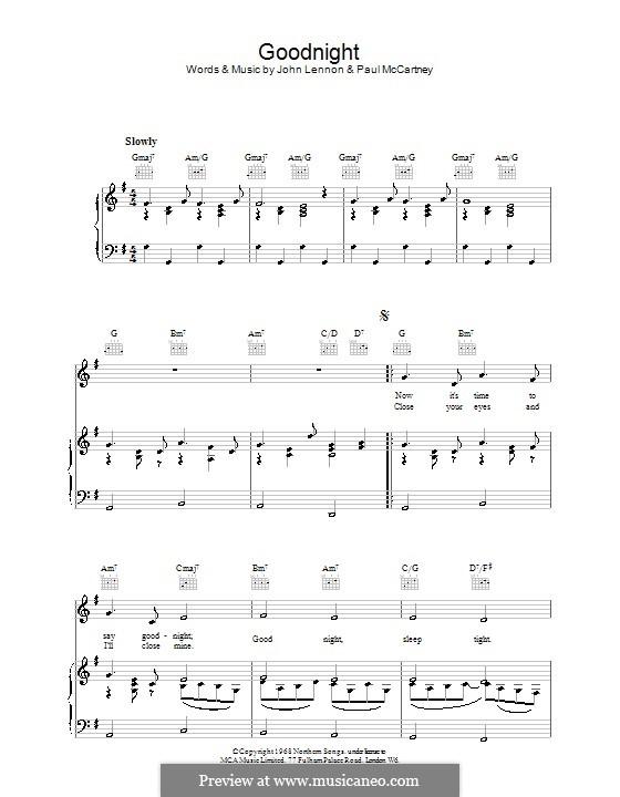 Goodnight (The Beatles): Para vocais e piano (ou Guitarra) by John Lennon, Paul McCartney