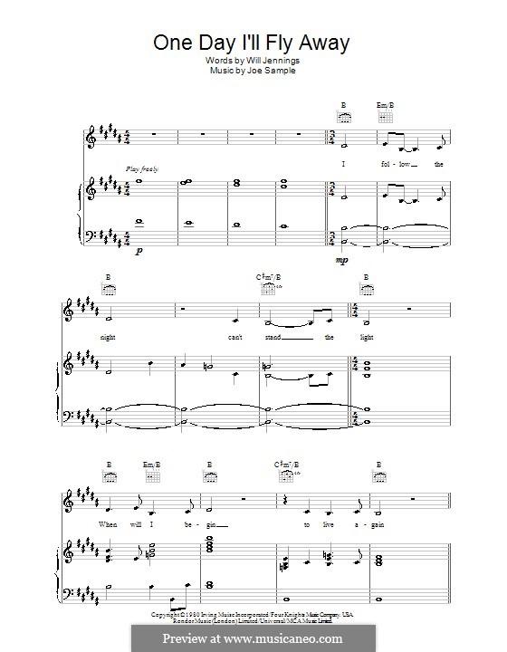 One Day I'll Fly Away (Randy Crawford): Para vocais e piano (ou Guitarra) by Joe Sample