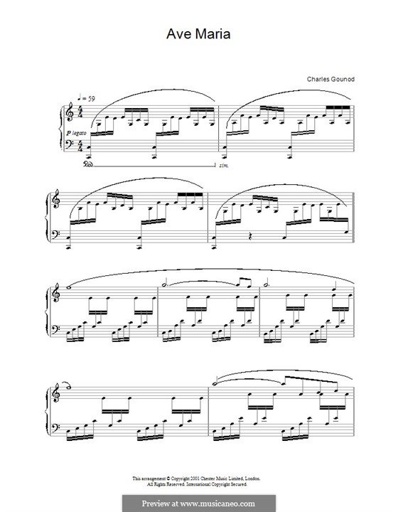 Ave Maria (Printable Sheet Music): Para Piano by Johann Sebastian Bach, Charles Gounod
