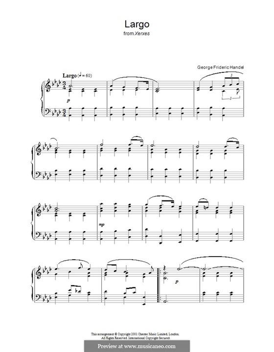 Largo: Para piano (A flat maior) by Georg Friedrich Händel