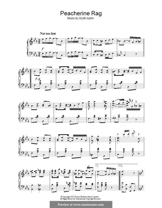 Peacherine Rag: Para Piano by Scott Joplin
