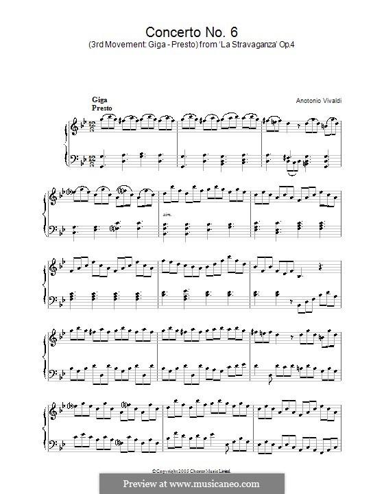 Concerto for Violin and Strings No.6 in G Minor, RV 316a Op.4: Movimento III. Versão para piano by Antonio Vivaldi