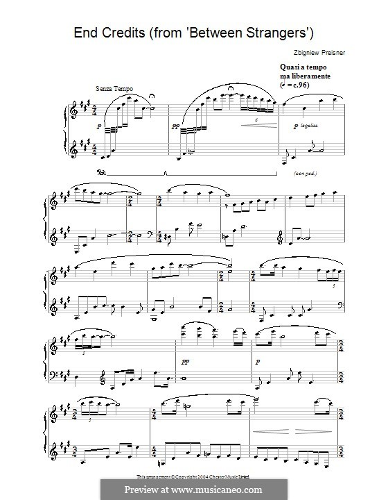 End Credits (from Between Strangers): Para Piano by Zbigniew Preisner