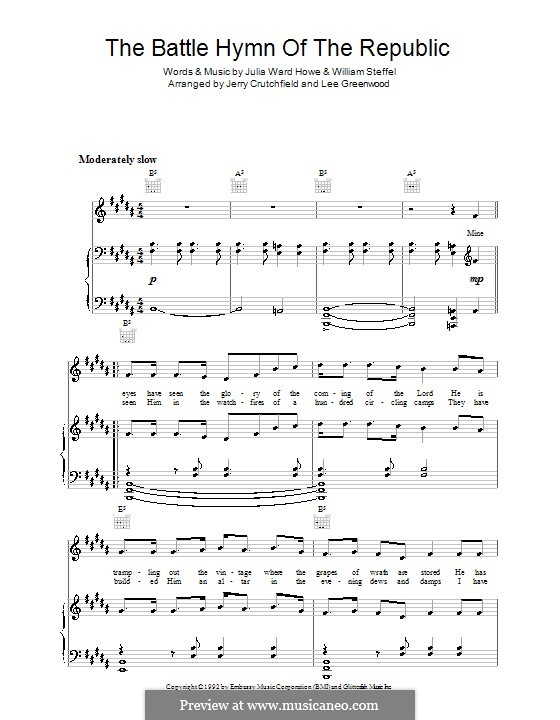 Battle Hymn of the Republic: Para vocais e piano (ou Guitarra) by William Steffe