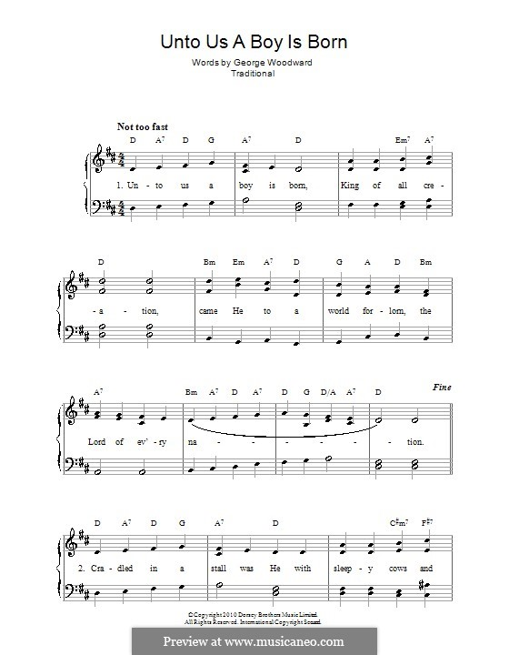 Unto Us a Boy Is Born: Para vocais e piano (ou Guitarra) by folklore