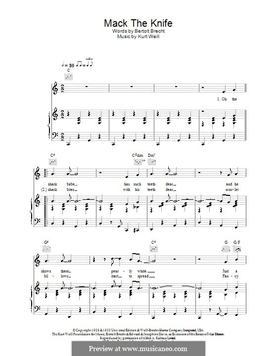 Mack the Knife: Para vocais e piano (ou Guitarra) by Kurt Weill