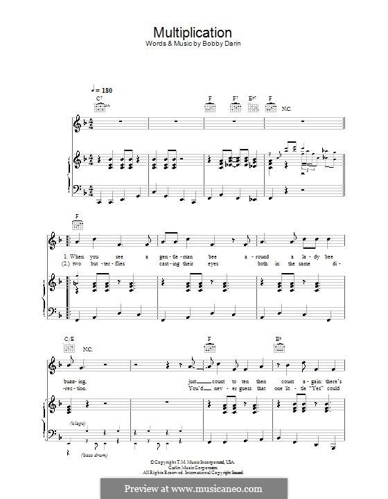 Multiplication: Para vocais e piano (ou Guitarra) by Bobby Darin