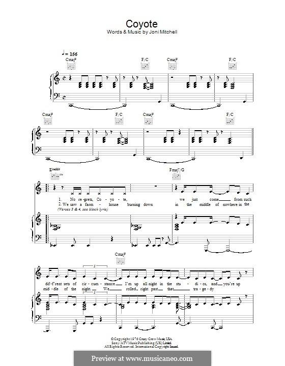 Coyote: Para vocais e piano (ou Guitarra) by Joni Mitchell