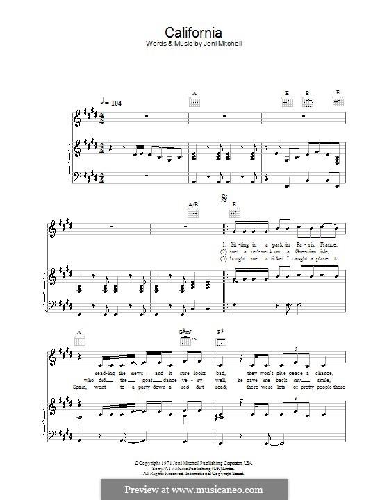 California: Para vocais e piano (ou Guitarra) by Joni Mitchell