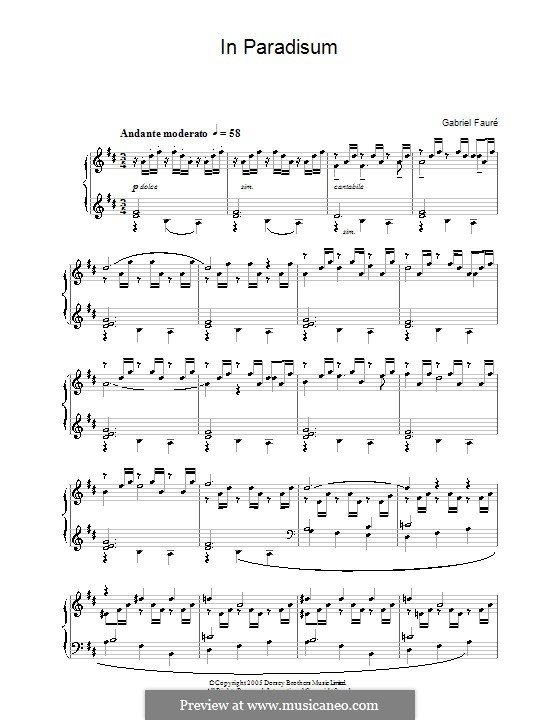 Requiem in D Minor, Op.48: Movement VII 'In Paradisum', for piano by Gabriel Fauré