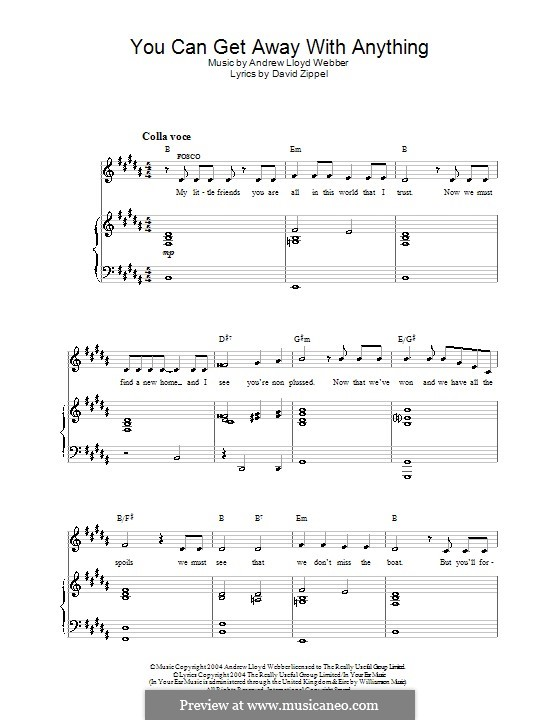You Can Get Away with Anything: Para vocais e piano (ou Guitarra) by Andrew Lloyd Webber