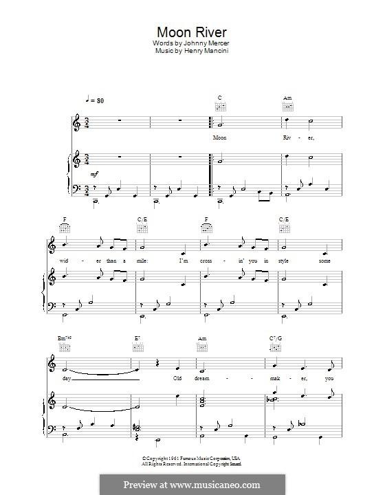 Moon River (from Breakfast at Tiffany's): Para vocais e piano (ou Guitarra) by Henry Mancini