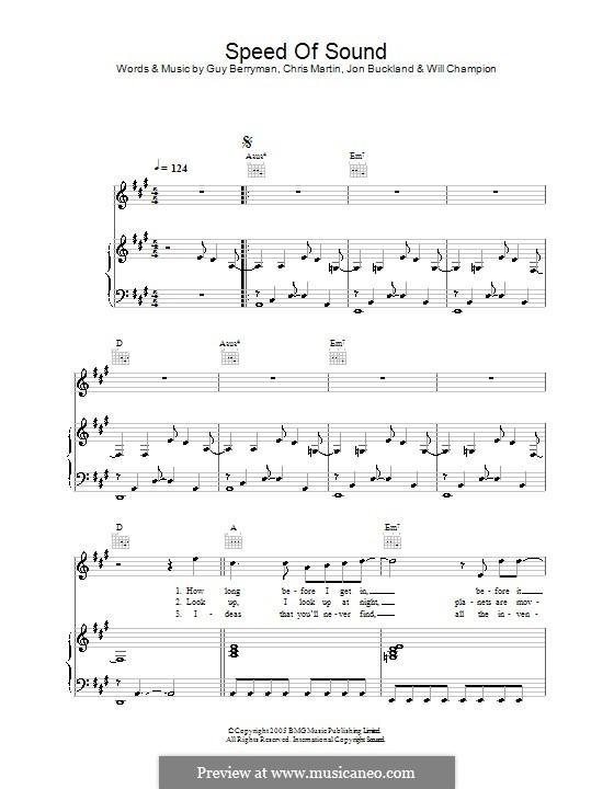 Speed of Sound (Coldplay): Para vocais e piano (ou Guitarra) by Chris Martin, Guy Berryman, Jonny Buckland, Will Champion
