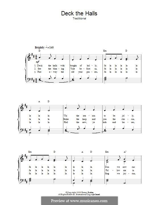 Deck the Hall (Printable): Para vocais e piano by folklore