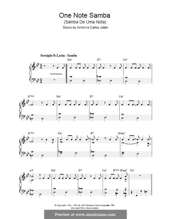 One Note Samba (Samba De Uma Nota): Facil para o piano by Antonio Carlos Jobim