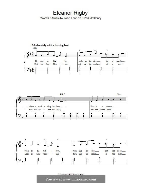 Eleanor Rigby (The Beatles): Facil para o piano by John Lennon, Paul McCartney