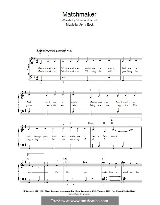 Matchmaker (from The Fiddler on the Roof): Facil para o piano by Jerry Bock