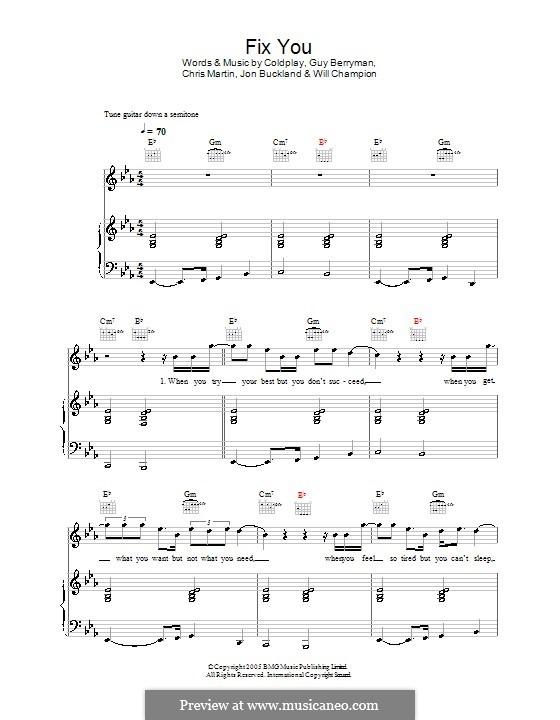 Fix You (Coldplay): Para vocais e piano (ou Guitarra) by Chris Martin, Guy Berryman, Jonny Buckland, Will Champion