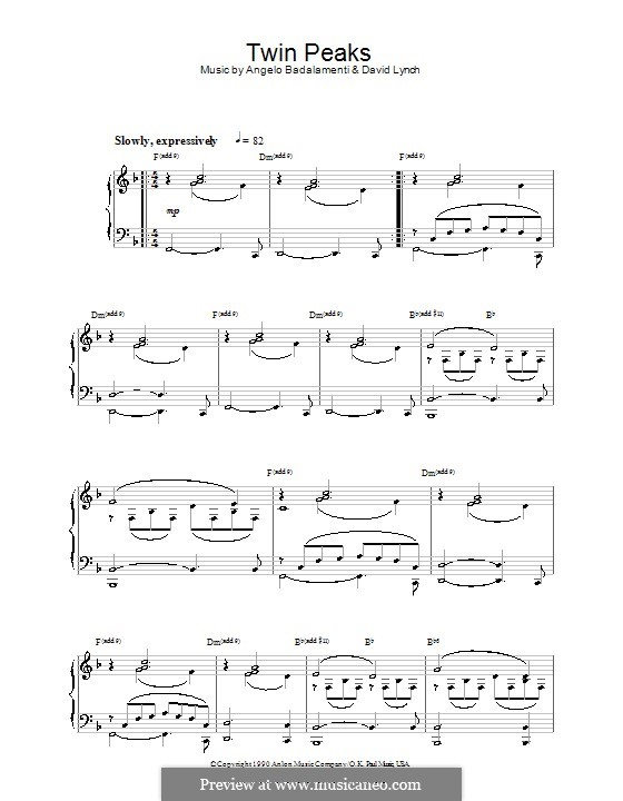 Theme from Twin Peaks: Para Piano by David Lynch