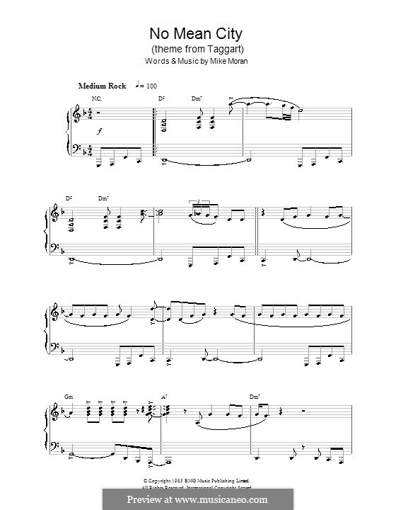 No Mean City (theme from Taggart): Para Piano by Mike Moran