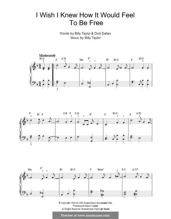 I Wish I Knew How it Would Feel to Be Free: Facil para o piano by Billy Taylor
