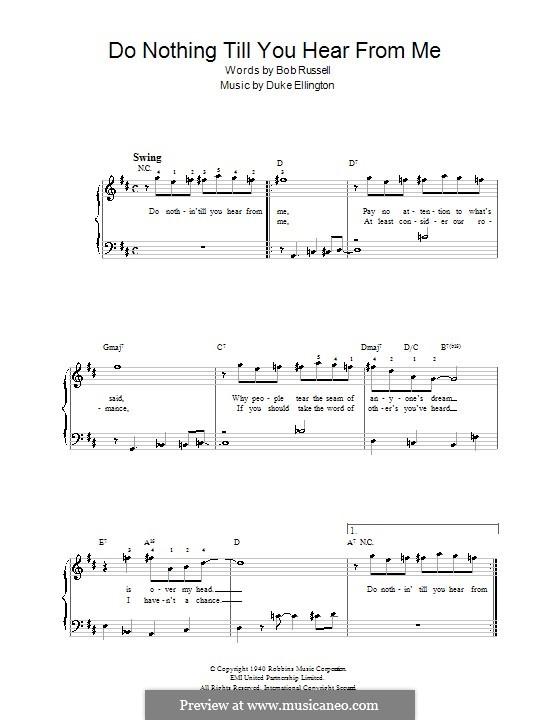 Do Nothin' Till You Hear from Me: Facil para o piano by Duke Ellington
