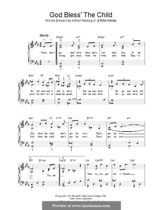 God Bless' the Child (Eva Cassidy): Facil para o piano by Arthur Herzog, Billie Holiday