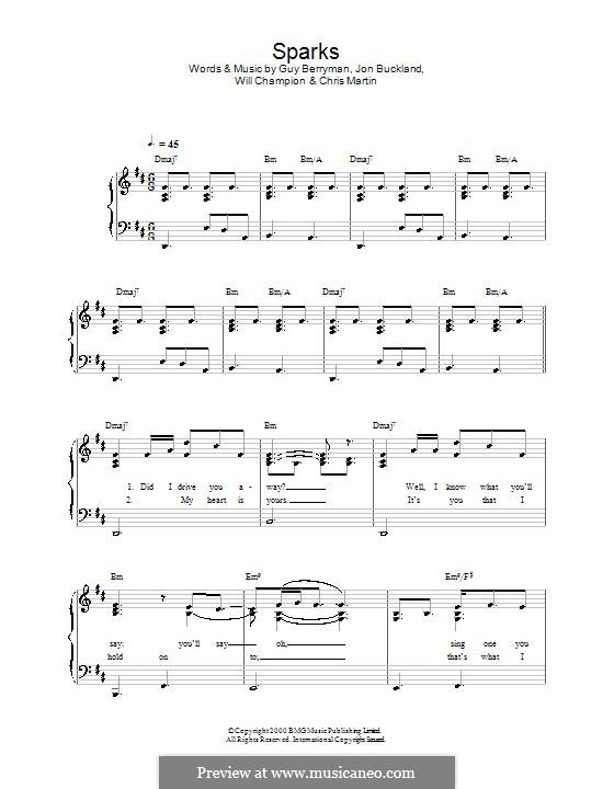 Sparks (Coldplay): Facil para o piano by Chris Martin, Guy Berryman, Jonny Buckland, Will Champion