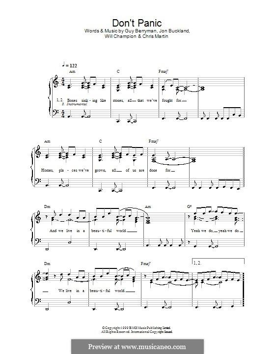 Don't Panic (Coldplay): Facil para o piano by Chris Martin, Guy Berryman, Jonny Buckland, Will Champion