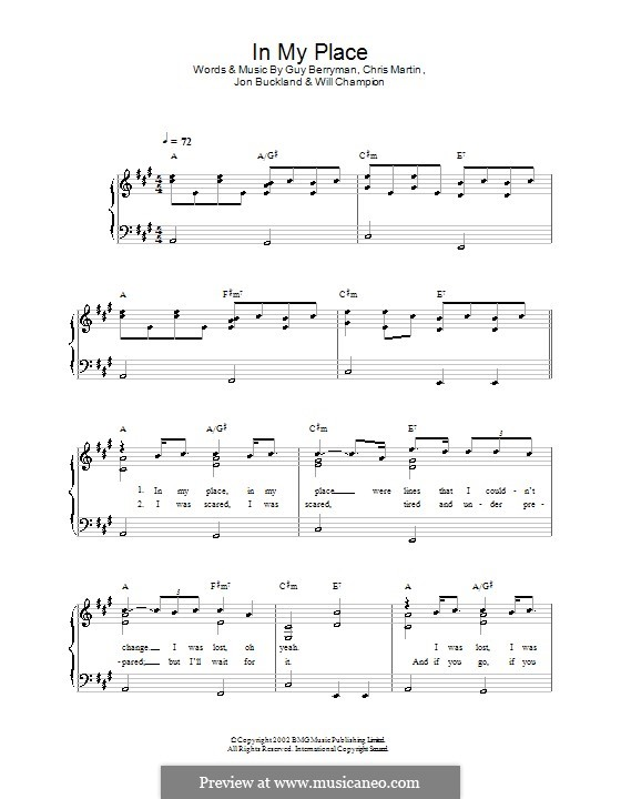 In My Place (Coldplay): Para Piano by Chris Martin, Guy Berryman, Jonny Buckland, Will Champion