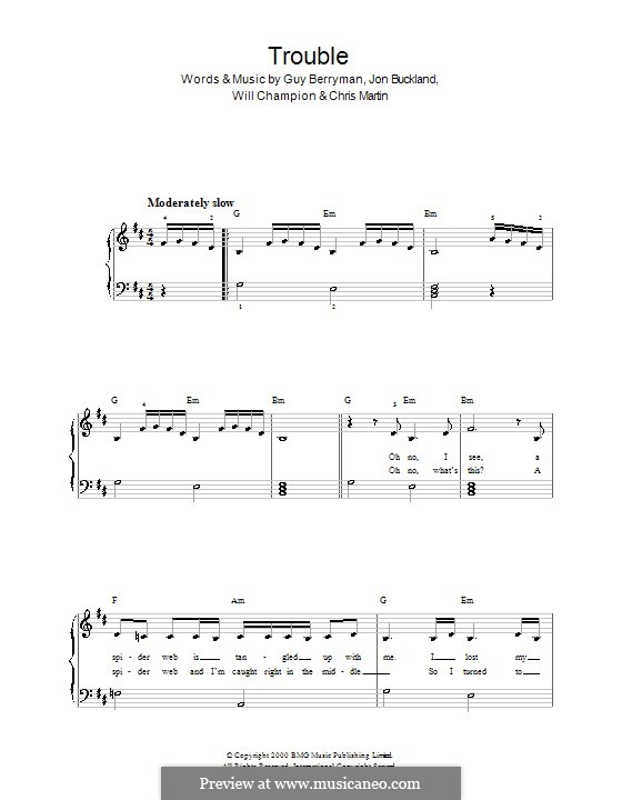 Trouble (Coldplay): Para Piano by Chris Martin, Guy Berryman, Jonny Buckland, Will Champion
