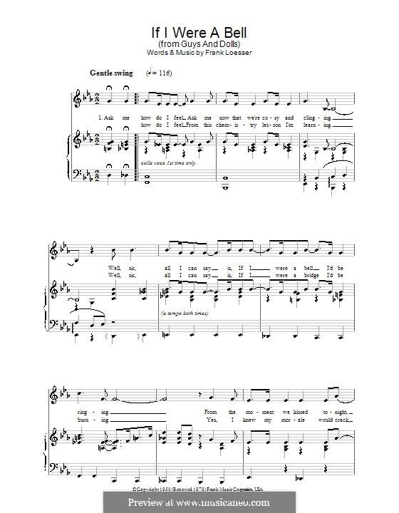 If I Were a Bell: para vocais,piano ou guitarra by Frank Loesser