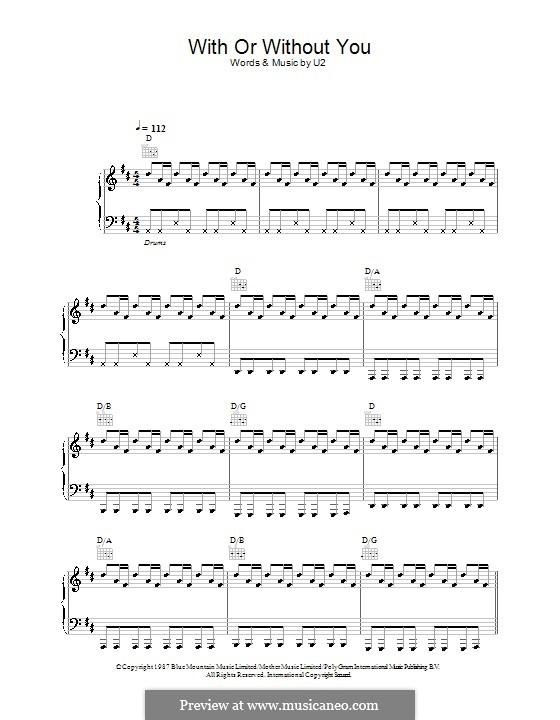 With or without You: Para vocais e piano (ou Guitarra) by U2