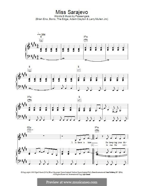 Miss Sarajevo: Para vocais e piano (ou Guitarra) by U2, Brian Eno