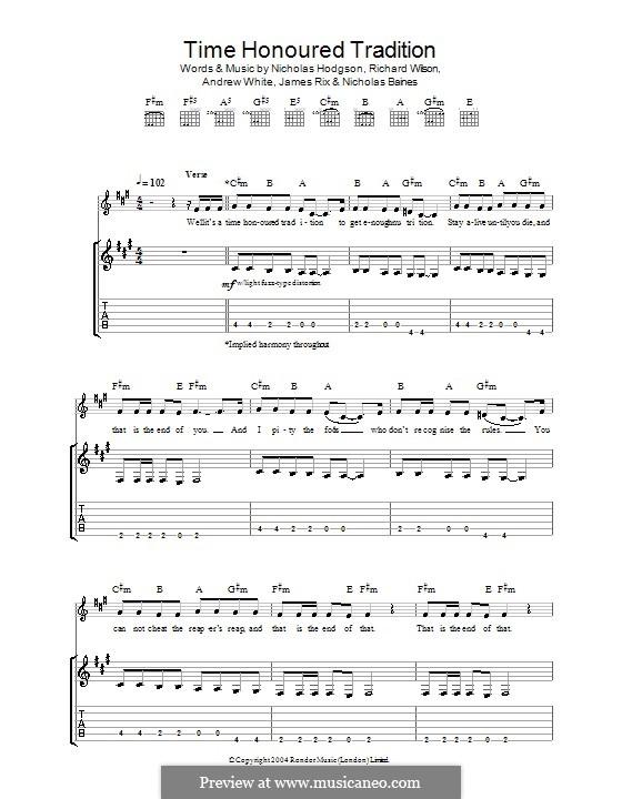 Time Honoured Tradition (Kaiser Chiefs): Para guitarra com guia by Andrew White, James Rix, Nicholas Baines, Nicholas Hodgson, Charles Wilson