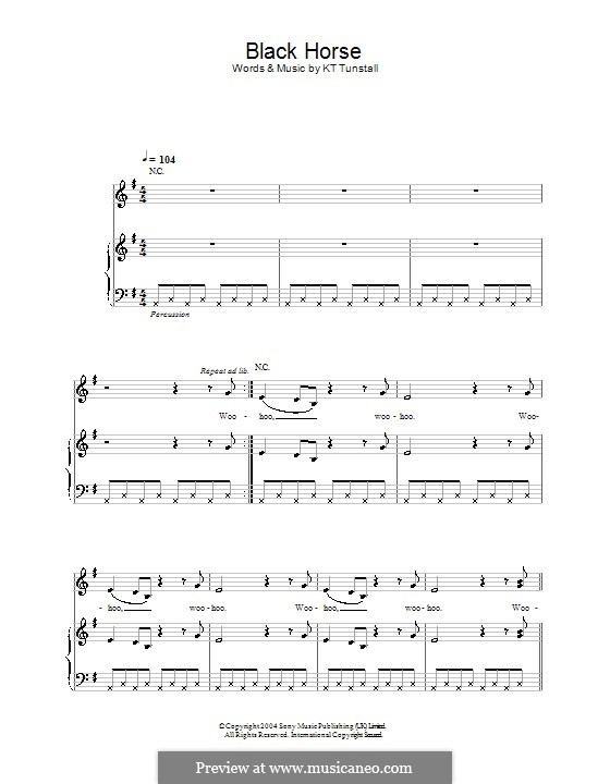 Black Horse and the Cherry Tree: para vocais,piano ou guitarra by KT Tunstall
