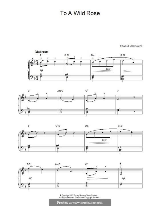No.1 To a Wild Rose: facil Para piano(F maior) by Edward MacDowell