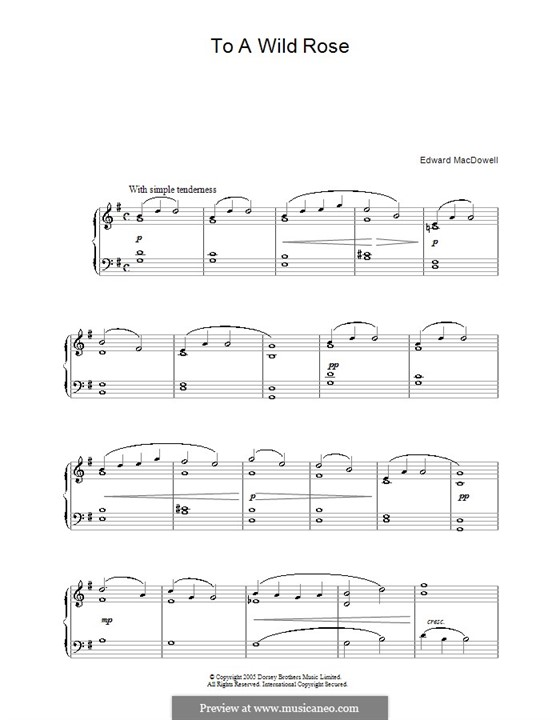 No.1 To a Wild Rose: para piano (G maior) by Edward MacDowell