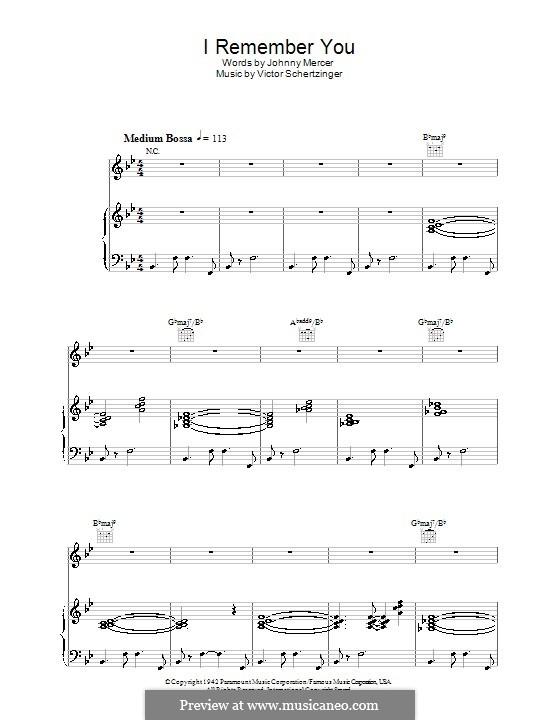 I Remember You (Diana Krall): Para vocais e piano (ou Guitarra) by Victor Schertzinger