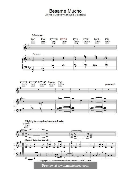 Besame Mucho (Kiss Me Much): Para voz e piano ou guitarra (Diana Krall) by Consuelo Velazquez
