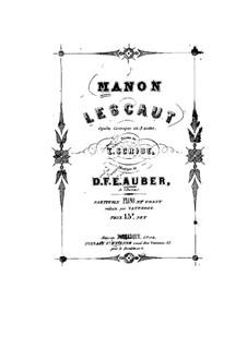 Manon Lescaut: Partitura Piano-vocal by Daniel Auber